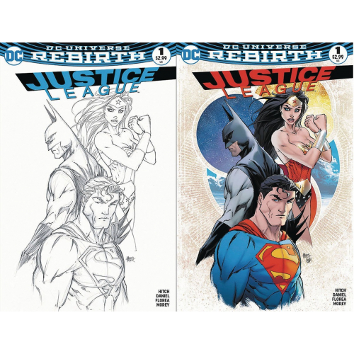 Justice League 1 COLORS & B&W SET (VO) Michael Turner Exclusive Aspen Variant