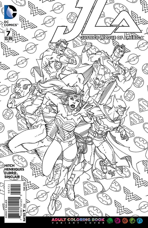 Justice League Of America 7 Adult Coloring Book Variant Vo