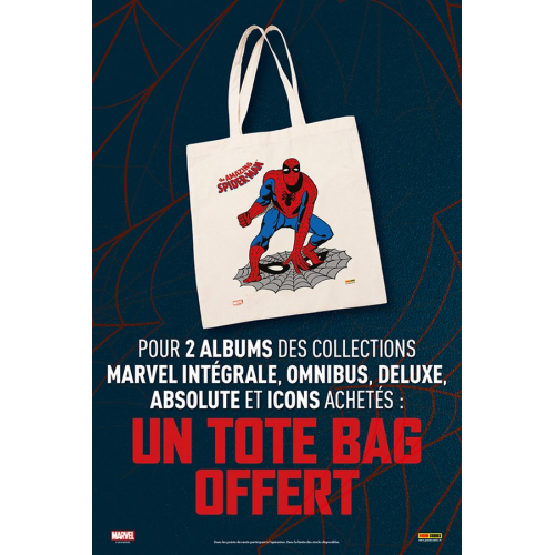 OFFERT : Tote Bag Spiderman pour l'achat de 2 Albums Panini (absolute, integrale, omnibus, deluxe, icons)