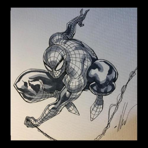 Dessin Original : Swinging SPIDER-MAN par Ale Garza