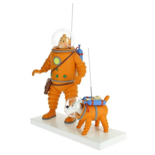 Figurine Tintin et Milou Cosmonaute sur la Lune