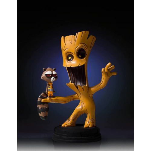 Groot and Rocket Raccoon Animated Statue