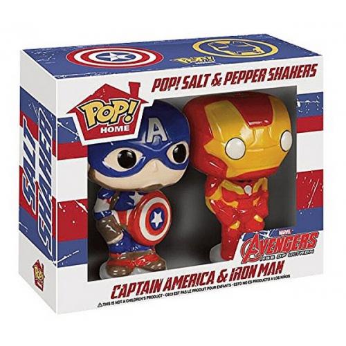 Salière et Poivrière Marvel Pop! Avengers Captain America & Iron Man